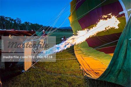 Inflating a hot air balloon near Pokolbin, Hunter Valley, New South Wales, Australia