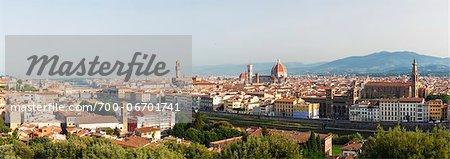 Panoramic view of Florence, Basilica di Santa Maria del Fiore, Tuscany, Italy