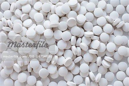 Close-up still life of white pills