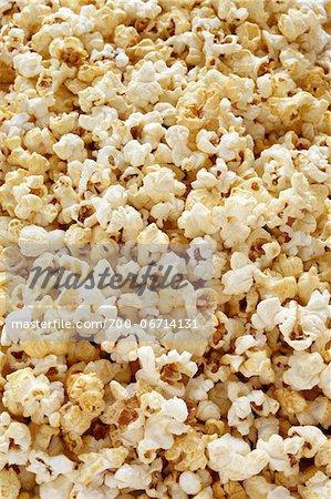 Close-up of popped popcorn