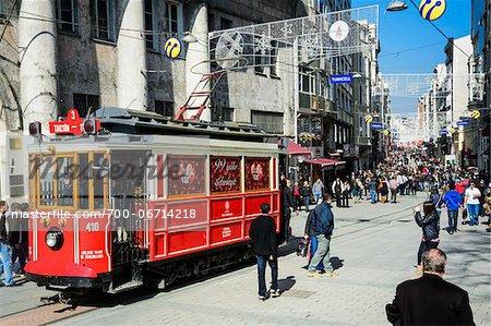 Turkey, Marmara, Istanbul, old tram in Istiklal Caddesi (Independence Avenue) in Beyoglu neighborhood