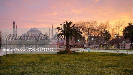 Turkey, Marmara, Istanbul, Hagia Sophia (Ayasofya) at Sunrise, as seen from Sultan Ahmet Square