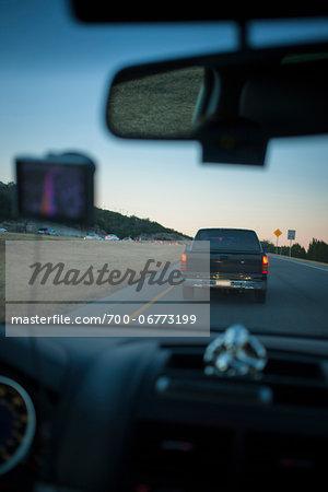 Heading into rush hour traffic, Mopac Expressway, Austin, Texas, USA