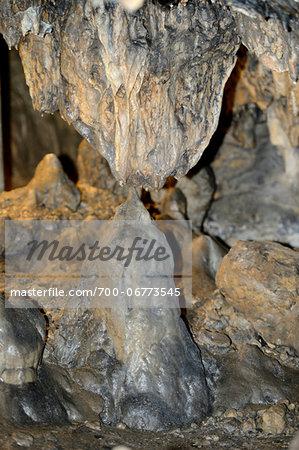 "Landscape of stalactites and stalagmites in King Otto Cave (""König-Otto-Tropfsteinhöhle""), Bavaria, Germany"