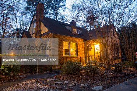 house and yard in evening, macon, georgia, USA