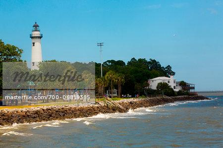 St Simons island Lighthouse and Rocky Shoreline, St Simons Island, Brunswick, Georgia