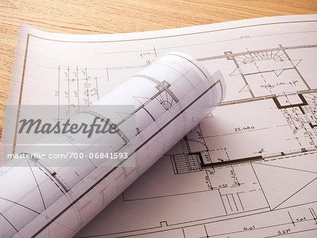 3d-illustration of a construction plans
