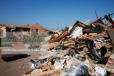Tornado Damage in Residential Neighbourhood, Moore, Oklahoma, USA.