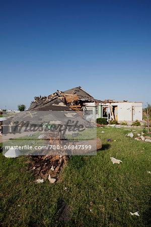 Tornado Damage to Home, Moore, Oklahoma, USA.