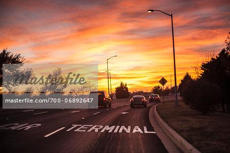 Sign pointing to airport terminal parking, Austin Bergstrom Airport (AUS), Austin, Texas, USA