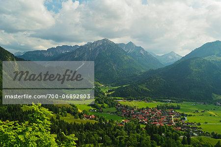 View of Allgaeu Alps and Bad Oberdorf village, Bavaria, Germany