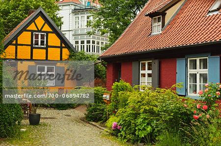 Scene in historic old town of Stralsund, Mecklenburg-Vorpommern, Germany, Europe