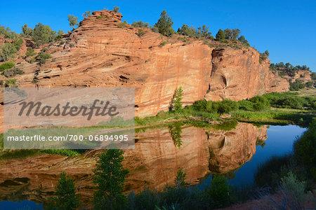 River and Red Rock Cliff near Escalante, Utah, USA