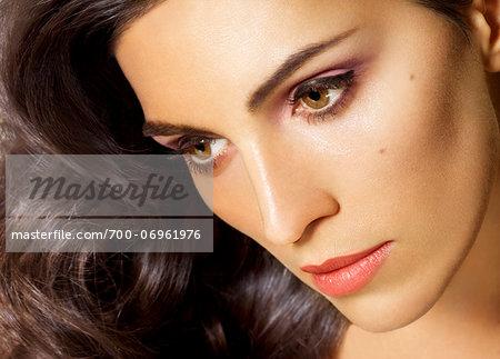 Close-up Portrait of Woman, studio shot