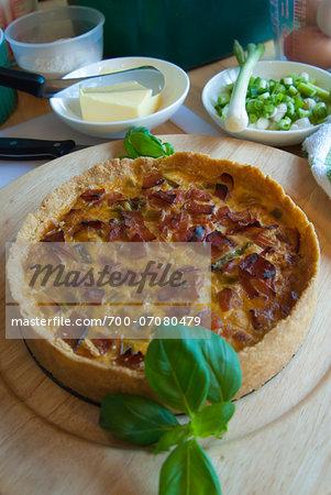 Onion, bacon and scallion tart, Kilkenny, County Kilkenny, Leinster, Republic of Ireland