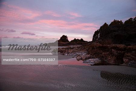 Scenic view of coastline at sunrise, Pacific Rim National Park Reserve, west coast of British Columbia, Canada