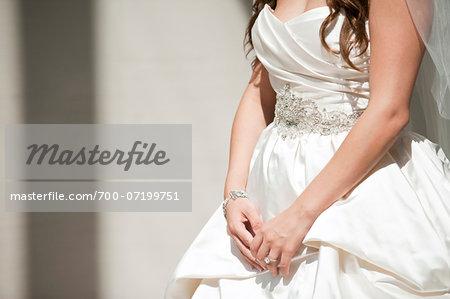 Close-up Detail of Bride's Wedding Dress