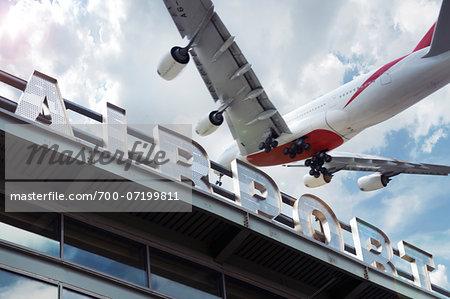 Jumbo Jet Landing At Newark International Airport New Jersey Usa