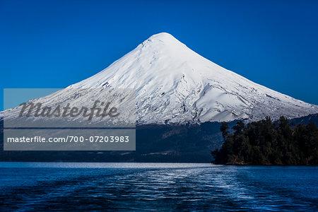 Scenic view of Todos los Santos Lake and Osorno Volcano, Parque Nacional Vicente Perez Rosales, Patagonia, Chile