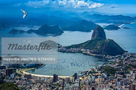View from Corcovado Mountain of Sugarloaf Mountain, Rio de Janeiro, Brazil