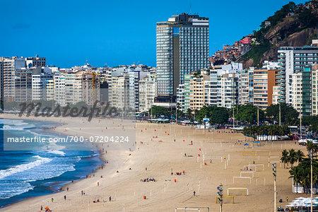 Copacabana Beach and buildings along shoreline, Rio de Janeiro, Brazil