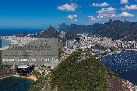 Cablecar ascending Sugarloaf Mountain (Pao de Acucar), Rio de Janeiro, Brazil