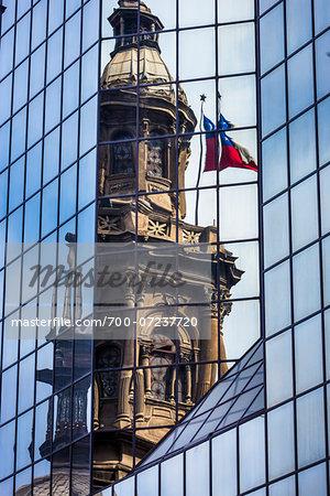 Reflection of Metropolitan Cathedral in Glass Building, Plaza de Armas, Santiago, Chile