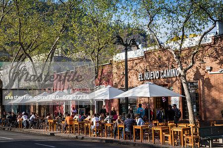 Outdoor Restaurants along Pio Nono Street, Bellavista District, Santiago, Chile