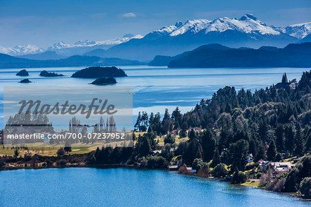 Scenic overview of Bariloche and the Andes Mountains, Nahuel Huapi National Park (Parque Nacional Nahuel Huapi), Argentina