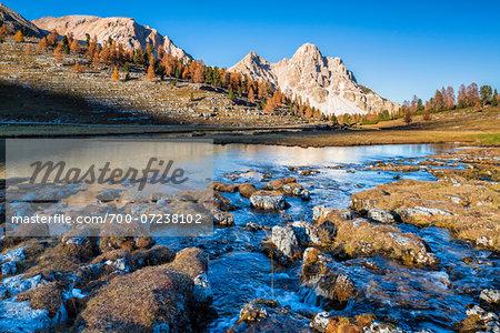 Brook at Lago Verde, Eisengabel Peak, Furcia Dai Fers in Autumn, Fanes Alps, Dolomites, South Tyrol, Italy