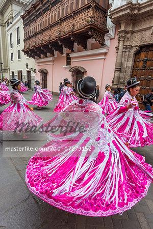 Dancers in Religious Festival Procession, Lima, Peru