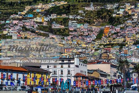 Historic Centre and Buildings on Hillside, Quito, Ecuador