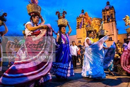 Dancers at Day of the Dead Festival Parade, Oaxaca de Juarez, Oaxaca, Mexico