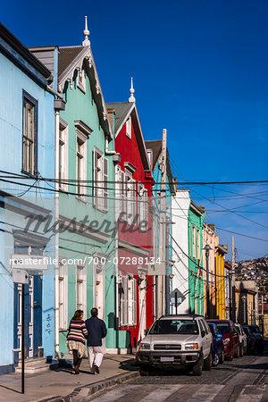 Colourful Houses on Street, Valparaiso, Chile