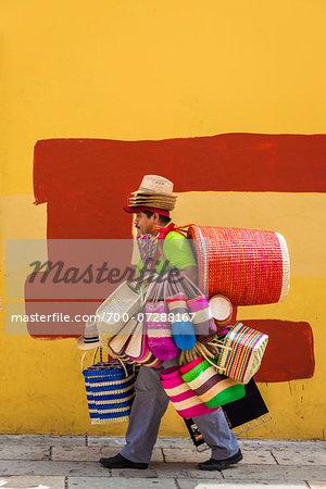 Basket and Hat Seller, Oaxaca de Juarez, Oaxaca, Mexico