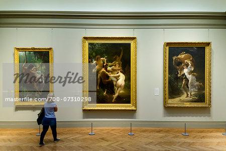 woman looking at paintings inside the metropolitan museum of art