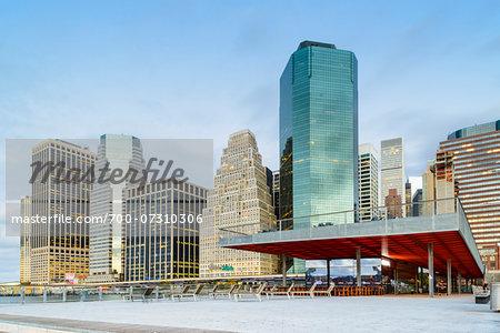 View of downtown, Lower Manhattan skyline from Pier 16, Manhattan, New York City, New York, USA