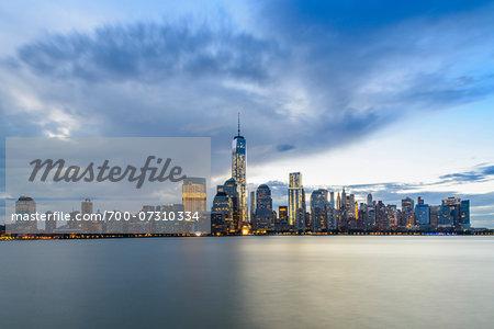View of Lower Manhattan skyline with One World Trade Center at sunrise, from Jersey City, Manhattan, New York City, New York, USA