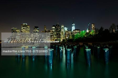 Brooklyn Bridge Park and view of Lower Manhattan at night, New York City, New York, USA