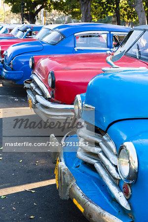 Vintage Cars Parked on Street, Havana, Cuba
