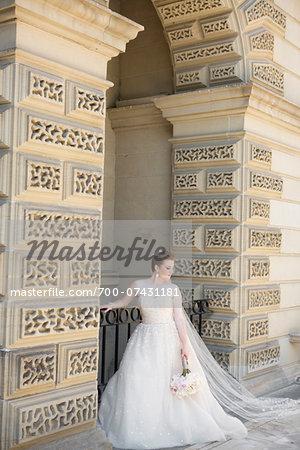 Portrait of Bride under Arch, Toronto, Ontario, Canada