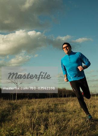 Mature Man Running Outdors, Mannheim, Baden-Wurttemberg, Germany
