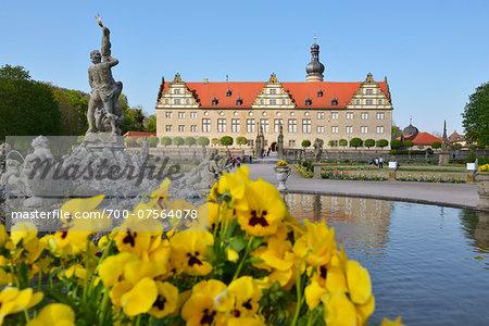 Weikersheim Castle with garden, Weikersheim, Baden Wurttemberg, Germany