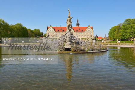 Weikersheim Castle Garden with Fountain, Weikersheim, Baden Wurttemberg, Germany