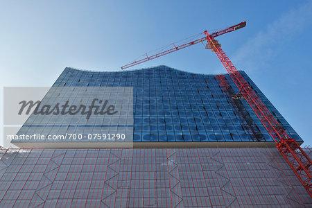 Elbe Philharmonic Hall with Construction Cranes, HafenCity, Hamburg, Germany