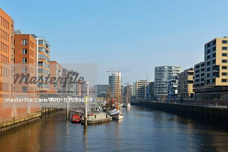 View of Speicherstadt with River Elbe, Hamburg, Germany