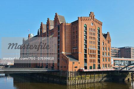 View of Internationales Maritimes Museum, Speicherstadt with River Elbe, Hamburg, Germany