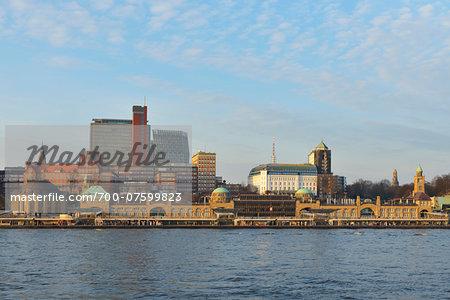 View of Landing Bridges and Elbe River, Hamburg, Germany