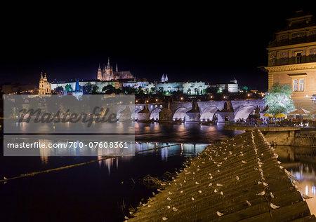 Night View of the Prague Castle, Vltava River and Charles Bridge, Prague, Bohemia, Czech Republic.