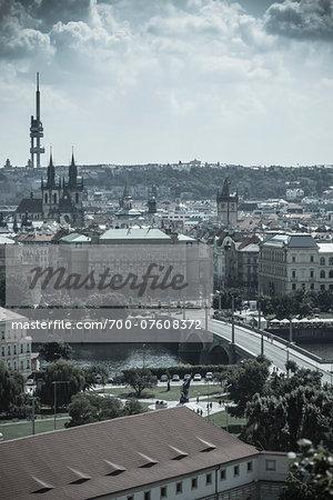 View of the Manesuv Bridge, Prague, Bohemia, Czech Republic.